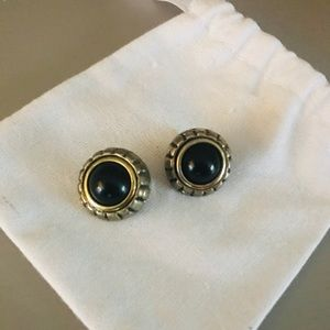 🎉 Large black stone and gold circle earrings
